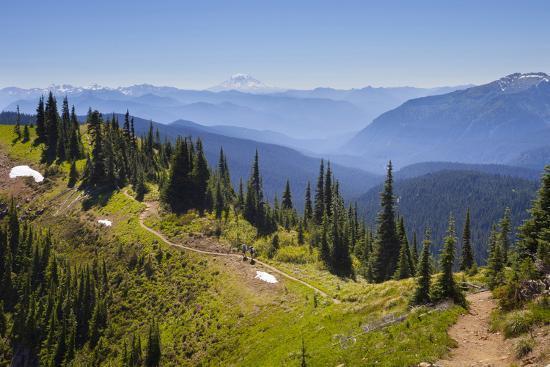 USA, Washington. Backpackers on Cowlitz Divide of Wonderland Trail-Gary Luhm-Photographic Print