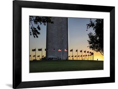 USA, Washington D.C. View of the World War II Memorial, Washington Monument-Hollice Looney-Framed Photographic Print
