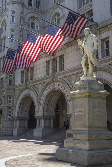 USA, Washington Dc. Ben Franklin Statue Fronts Old Post Office-Charles Crust-Photographic Print