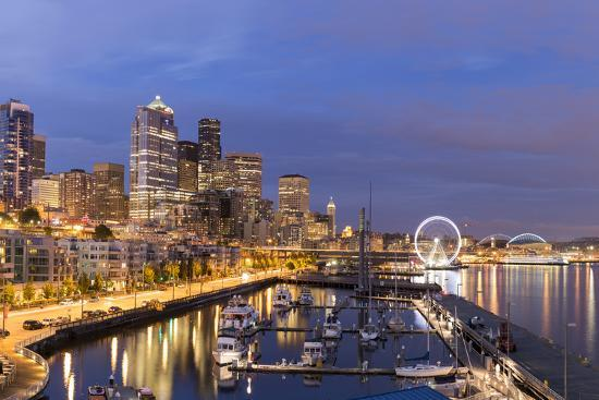 USA, Washington, Seattle. Night Time Skyline from Pier 66-Brent Bergherm-Photographic Print