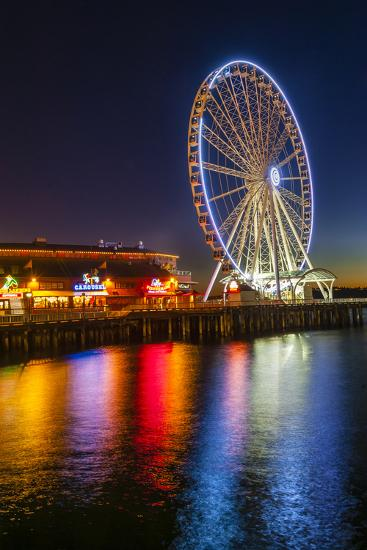 USA, Washington, Seattle. the Seattle Great Wheel on the Waterfront-Richard Duval-Photographic Print
