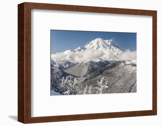 Usa, Washington State, Crystal Mountain. Snow-covered Mount Rainier viewed from Lucky Shot ski run-Merrill Images-Framed Photographic Print