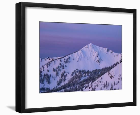 Usa, Washington State, Crystal Mountain. 'The King' summit and snow-filled bowls at sunset.-Merrill Images-Framed Photographic Print
