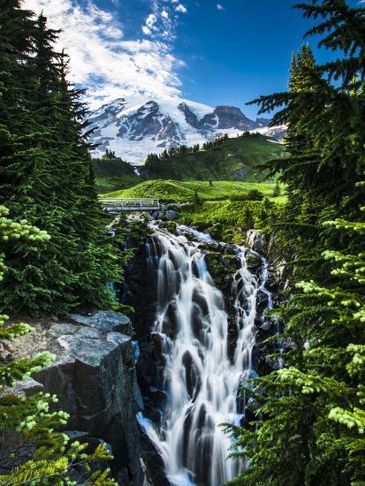 USA, Washington State, Mount Rainier National Park, Mount Rainier, waterfall-George Theodore-Photographic Print