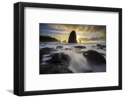 USA, Washington State, Olympic NP. Sunrise on coast beach and rocks.-Jaynes Gallery-Framed Photographic Print