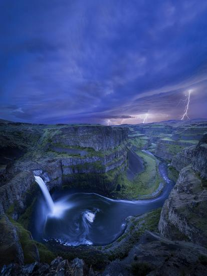 USA, Washington State. Palouse Falls at dusk with an approaching lightning storm-Gary Luhm-Photographic Print