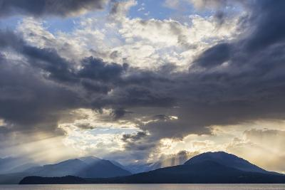 USA, Washington State, Seabeck. God Rays over Hood Canal-Don Paulson-Photographic Print