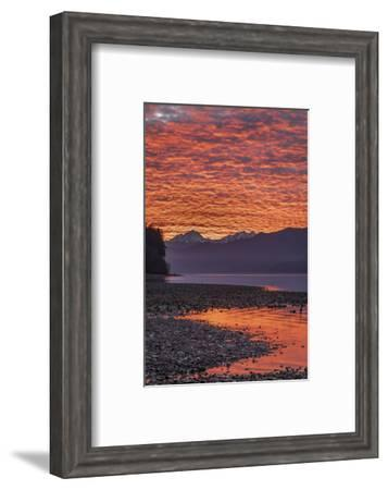USA, Washington State, Seabeck. Sunset on Hood Canal and Olympic Mountains.-Jaynes Gallery-Framed Photographic Print