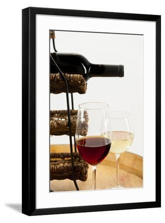 USA, Washington State, Seattle. Glass of red and white wine on a barrel.-Richard Duval-Framed Photographic Print