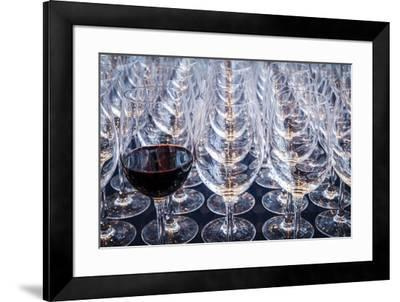 USA, Washington State, Seattle. Red wine in row of glasses.-Richard Duval-Framed Photographic Print