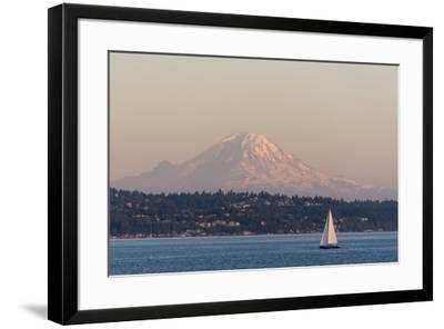 USA, Washington State, Seattle. Sailboat passes in front of Mt. Rainier pink dusk light-Trish Drury-Framed Photographic Print