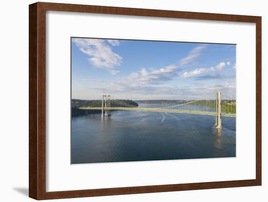 USA, Washington State, Tacoma. Tacoma Narrows Bridge spanning the Tacoma Narrows strait-Merrill Images-Framed Photographic Print