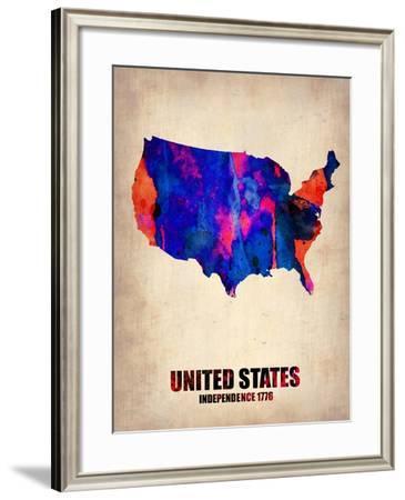 Usa Watercolor Map 1-NaxArt-Framed Art Print