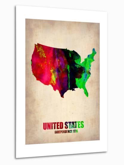 Usa Watercolor Map 2-NaxArt-Metal Print