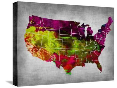 Usa Watercolor Map 4-NaxArt-Stretched Canvas Print