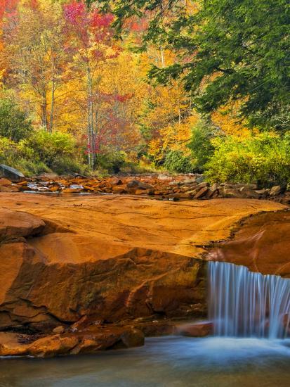 USA, West Virginia, Douglass Falls. Waterfall over Rock Outcrop-Jay O'brien-Photographic Print