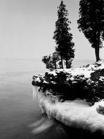 Usa, Wisconsin, Lake Michigan, Shore Scenic, Winter (B&W)-Alex L. Fradkin-Photographic Print