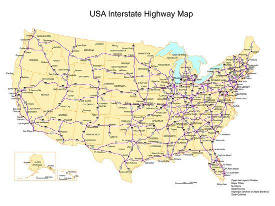 Usa With Interstate Highways, States And Names Art Print by Bruce Jones    Art.com