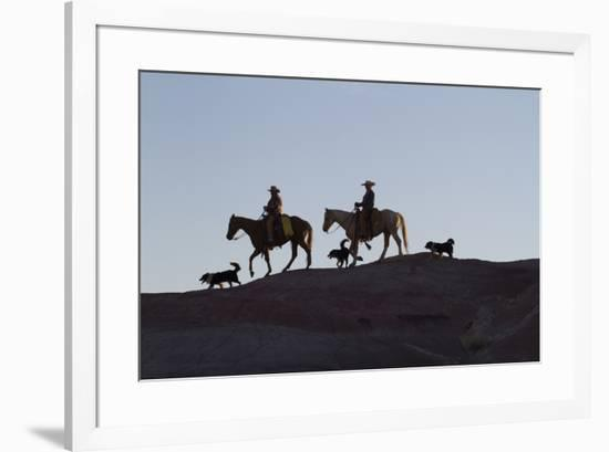 USA, Wyoming, Shell, The Hideout Ranch, Cowboys, Horses and Dogs in Early Light-Hollice Looney-Framed Premium Photographic Print