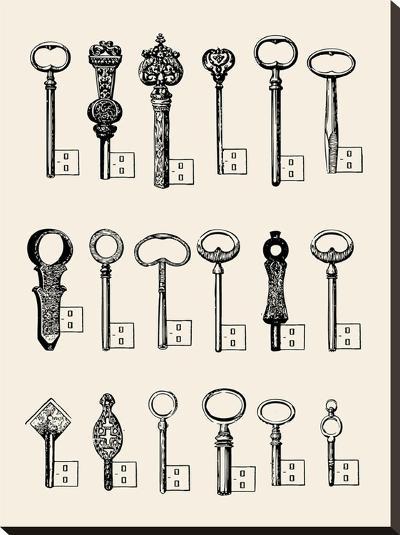 Usb Keys-Florent Bodart-Stretched Canvas Print