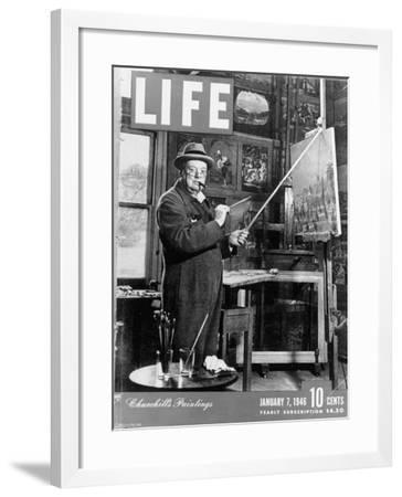 Used Life Cover 1-7-1946 of England's Prime Minister Winston Churchill Painting a Picture--Framed Photographic Print