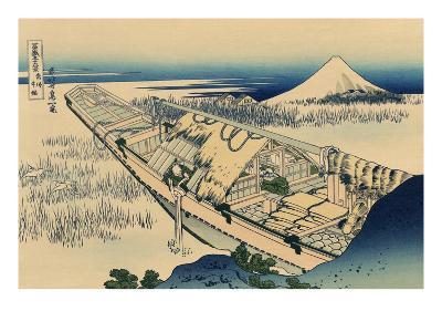 Ushibori in Hitachi Province-Katsushika Hokusai-Art Print
