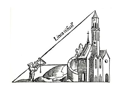 Using a Quadrant with a Plumb Bob to Calculate the Height of a Tower by Triangulation, 1551--Giclee Print