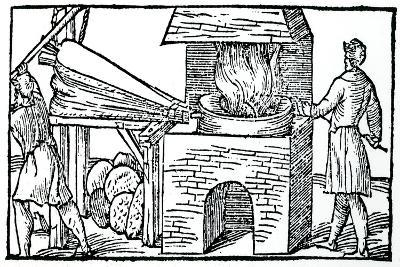 Using Bellows to Increase the Draught in a Furnace, 1540--Giclee Print