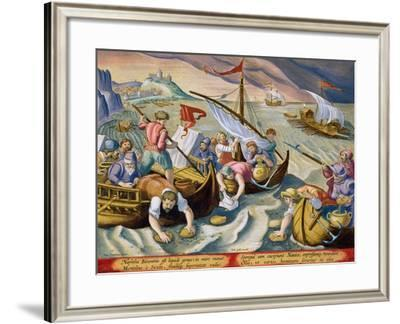 Using Sponges to Collect Naphtha from the Surface of the Waves-Jan van der Straet-Framed Giclee Print