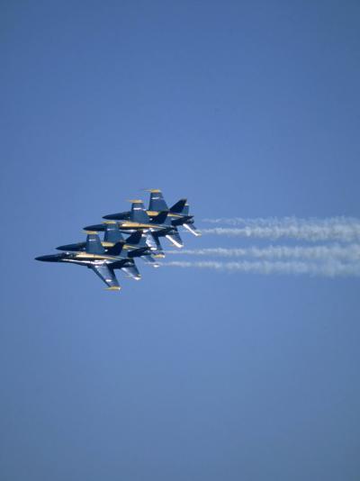 USN Blue Angels Flying in Formation-John Luke-Photographic Print