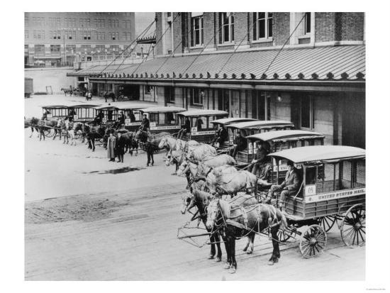USPS Mail Wagons Photograph - Seattle, WA-Lantern Press-Art Print
