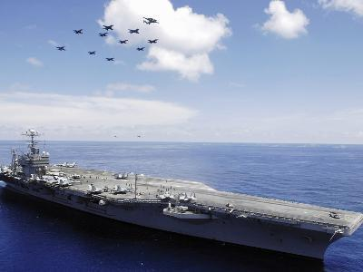 USS Abraham Lincoln And Aircraft Perform a Aerial Demonstration-Stocktrek Images-Photographic Print