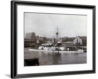 Uss Amphitrite at the Boston Navy Yard, Charlestown, Ma, During the 1890s--Framed Photographic Print