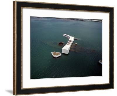 USS Arizona Memorial Rests on the Actual Battleship Sunk in Pearl Harbor, 1991--Framed Photo