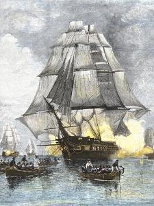 USS Constitution Being Towed in Rowboats Away from the Becalmed British Navy, War of 1812