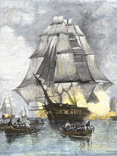 USS Constitution Being Towed in Rowboats Away from the Becalmed British Navy, War of 1812--Giclee Print
