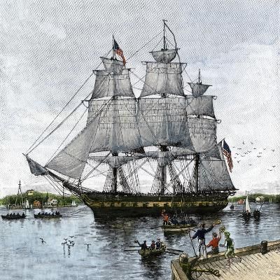 "USS ""Constitution"" Being Towed Out of Boston Harbor, 1812--Giclee Print"