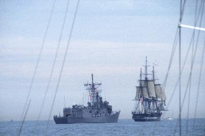 "USS Constitution ""Old Ironsides"" Under Sail, Escorted by Modern US Navy Frigate, 1997--Photographic Print"
