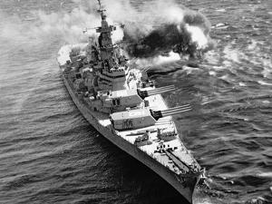 Uss Iowa Firing Her 16-Inch Guns at Kojo Shore Target, 15th October 1952
