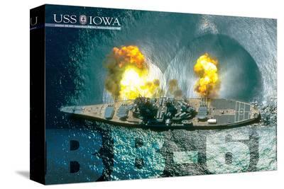 USS Iowa Guns firing--Stretched Canvas Print