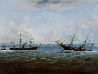 Uss Kearsarge and Css Alabama Off Cherbourg, France-Thomas Palmer Moses-Giclee Print