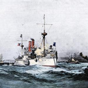 USS Maine Saluting the Spanish Flagship Upon Arrival in Havana Harbor, 1898