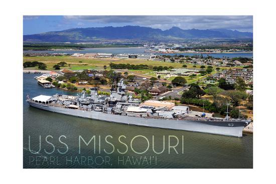 USS Missouri - Aerial Dock View-Lantern Press-Art Print