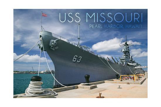 USS Missouri - Dock View-Lantern Press-Art Print