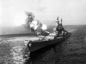 Uss Missouri Fires its 16-Inch Guns at Chong Jin, North Korea, Oct. 10, 1950