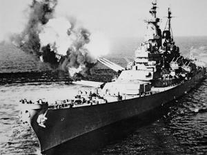 USS Missouri Firing 16-Inch Salvo at Chong Jim, Korea, on 21st September 1950