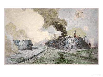USS Monitor Fighting the CSS Merrimack, Battle of Hampton Broads, American Civil War, c.1862--Giclee Print