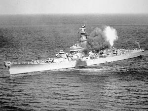 Uss New Jersey Fires 16-Inch Salvo Against Enemy Shore Target, 6th June 1951