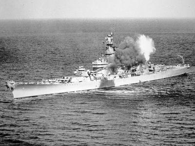 Uss New Jersey Fires 16-Inch Salvo Against Enemy Shore Target, 6th June 1951--Photographic Print
