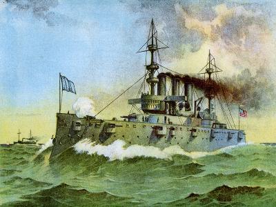 Uss 'New York, American Armoured Cruiser, 1898--Giclee Print